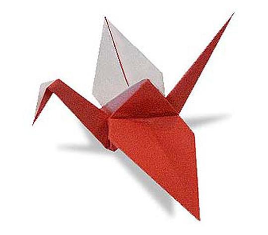 オリカタ公式さんによる《伝承》紅白鶴1の折り紙