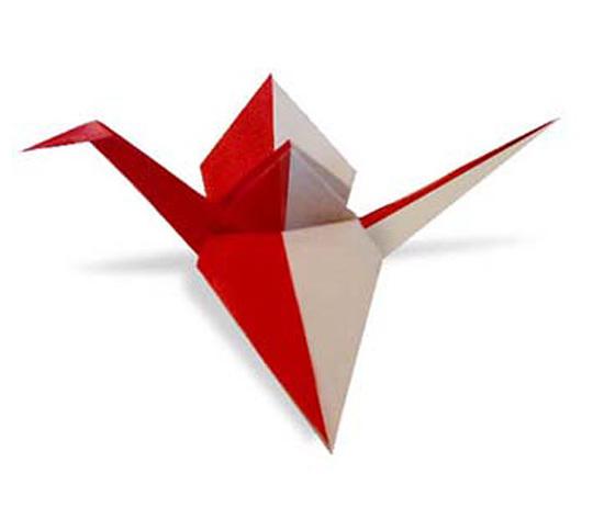 オリカタ公式さんによる《伝承》紅白鶴2の折り紙