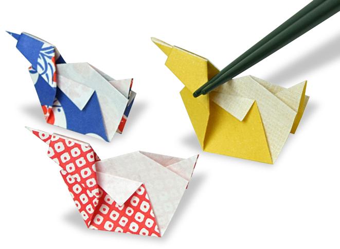 おりがみくらぶ(新宮文明)さんによるあひるのはしおきの折り紙