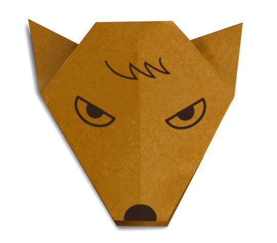 おりがみくらぶ(新宮文明)さんによるおおかみのかおの折り紙