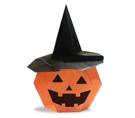 おりがみくらぶ(新宮文明)さんによるかぼちゃのおばけのかしいれの折り紙