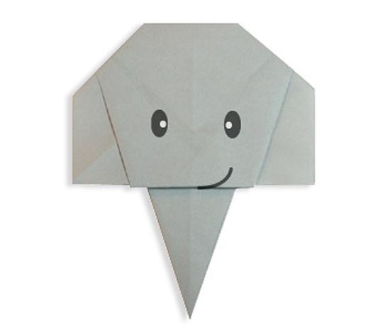おりがみくらぶ(新宮文明)さんによるぞうのかおの折り紙