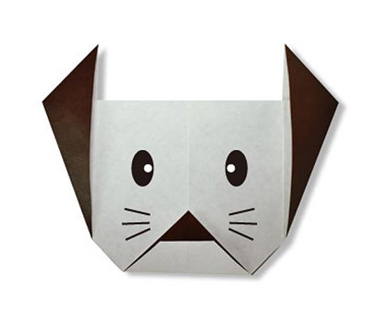 おりがみくらぶ(新宮文明)さんによるいぬのかお2の折り紙