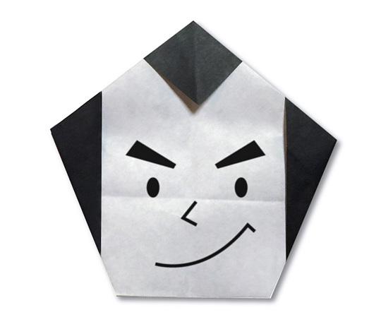 おりがみくらぶ(新宮文明)さんによるおとこのかお(日本髪)の折り紙