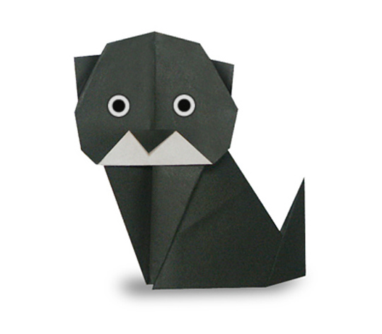 おりがみくらぶ(新宮文明)さんによるくろねこの折り紙