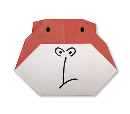 おりがみくらぶ(新宮文明)さんによるごりらのかおの折り紙