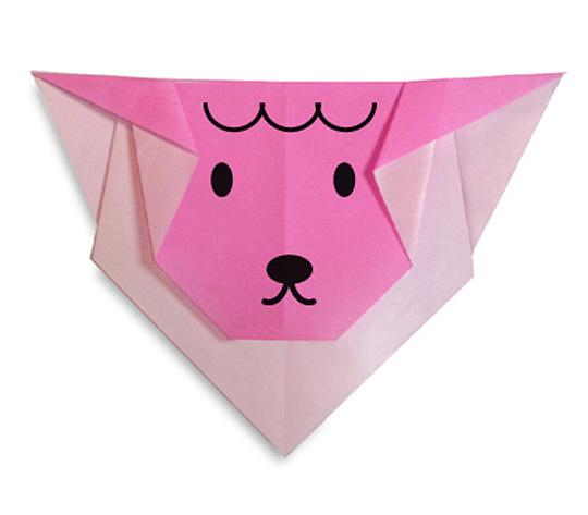 おりがみくらぶ(新宮文明)さんによるひつじのかお2の折り紙