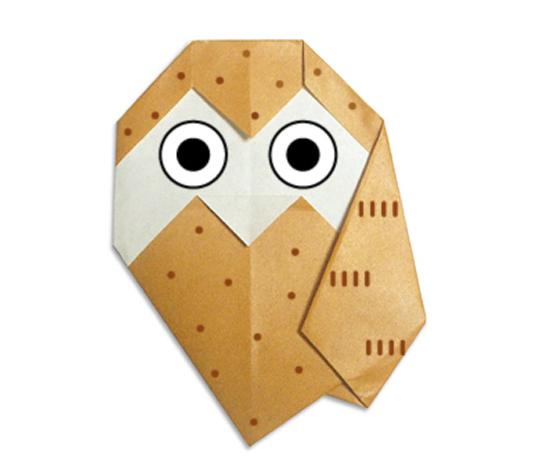 おりがみくらぶ(新宮文明)さんによるふくろうの折り紙