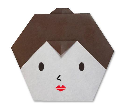 おりがみくらぶ(新宮文明)さんによるおんなのかお(日本髪)の折り紙