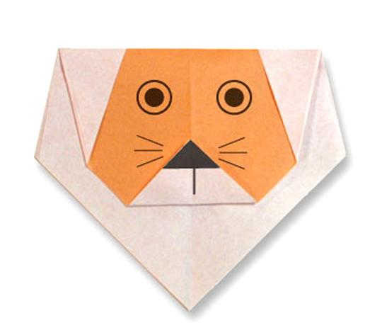 おりがみくらぶ(新宮文明)さんによるらいおんのかおの折り紙
