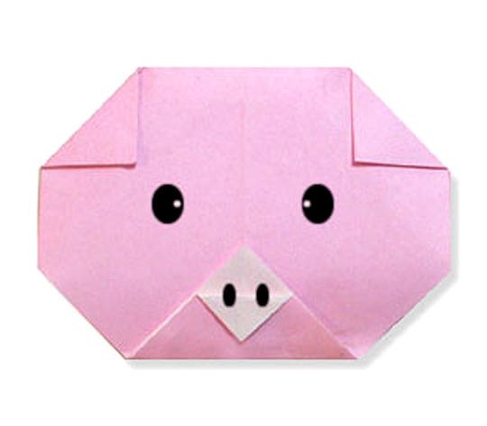 おりがみくらぶ(新宮文明)さんによるぶたのかおの折り紙