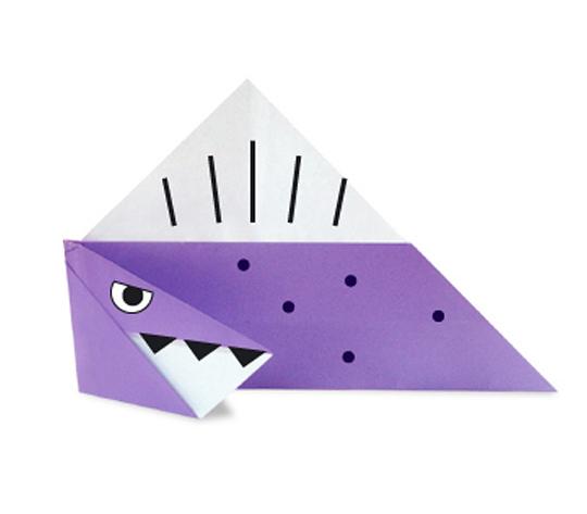 おりがみくらぶ(新宮文明)さんによるすぴのさうるすの折り紙