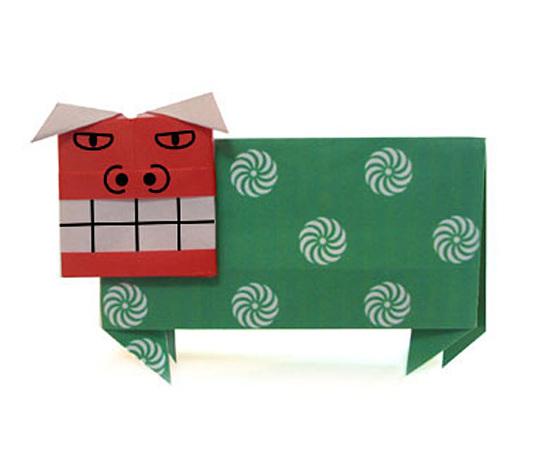 おりがみくらぶ(新宮文明)さんによるししまいの折り紙