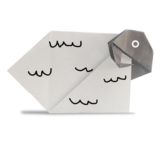 おりがみくらぶ(新宮文明)さんによるひつじ3の折り紙