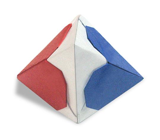 おりがみくらぶ(新宮文明)さんによるはーと両三角錐の折り紙