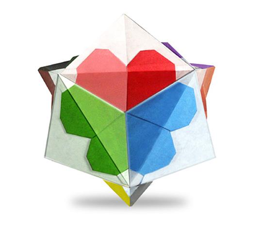 おりがみくらぶ(新宮文明)さんによるはーと24面体の折り紙