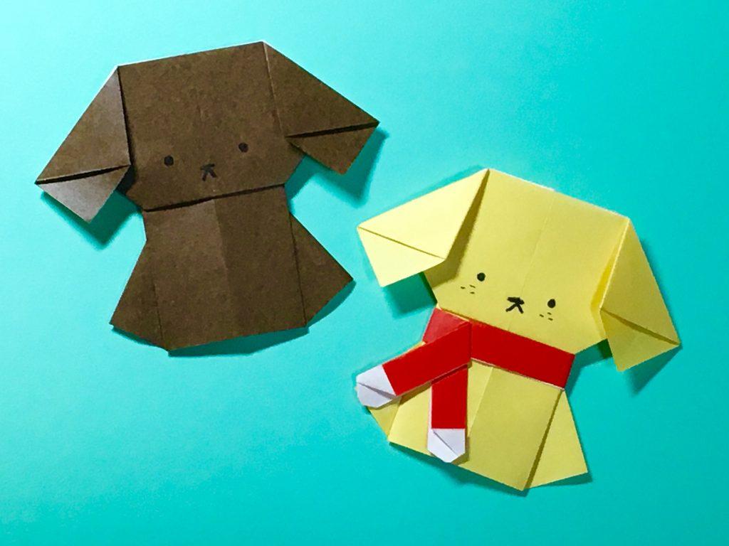 Oriya小町さんによるワンちゃん・マフラー付きの折り紙