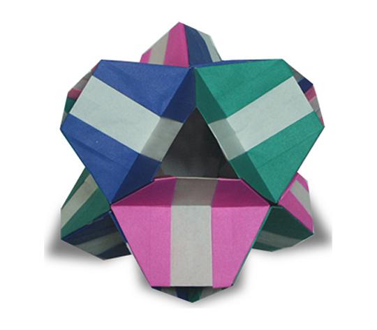 おりがみくらぶ(新宮文明)さんによる2色24面体の折り紙