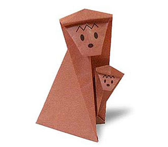 おりがみくらぶ(新宮文明)さんによるおやこざるの折り紙