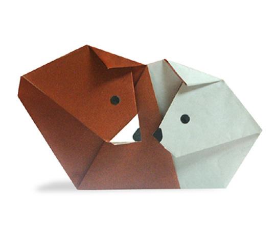 おりがみくらぶ(新宮文明)さんによるくまとしろくまの折り紙