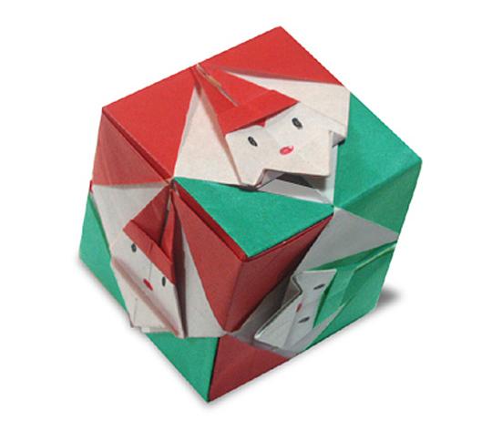 おりがみくらぶ(新宮文明)さんによるさんたの立方体の折り紙