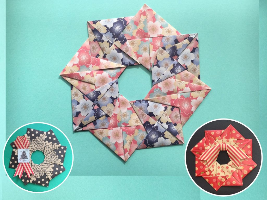 Oriya小町さんによる正菱形の飾りリースの折り紙