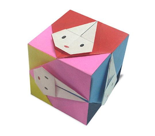 おりがみくらぶ(新宮文明)さんによるうさぎの立方体の折り紙