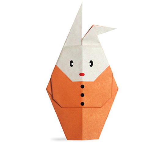 おりがみくらぶ(新宮文明)さんによるふくをきたうさぎの折り紙