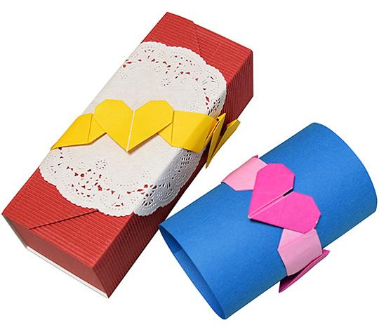 おりがみくらぶ(新宮文明)さんによるはーとのりぼんの折り紙