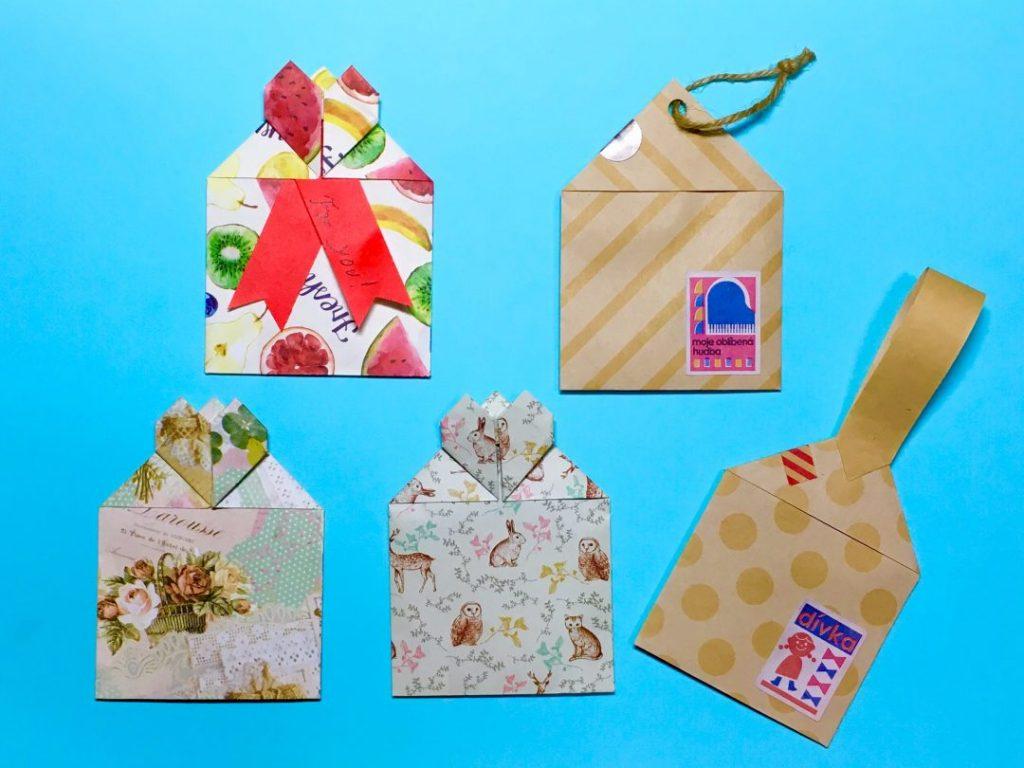 Oriya小町さんによるハート付き小分けバッグ(タグ仕様あり)の折り紙