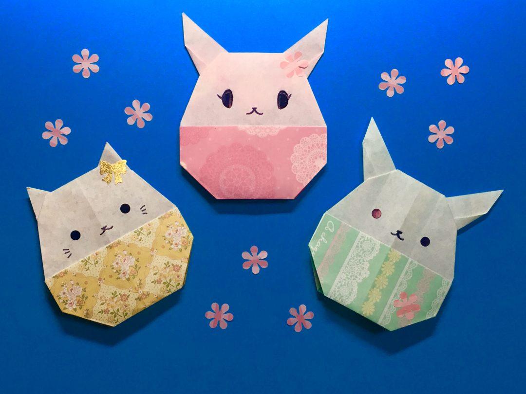 Oriya小町さんによるうさたまちゃん と ねこたまちゃんの折り紙