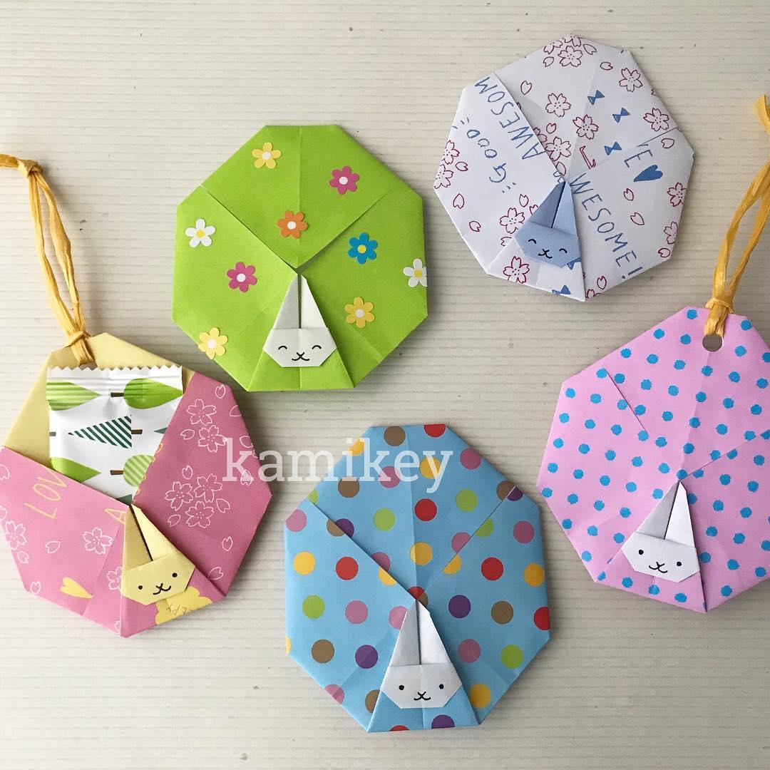 カミキィさんによるうさぎ付きイースターエッグの折り紙