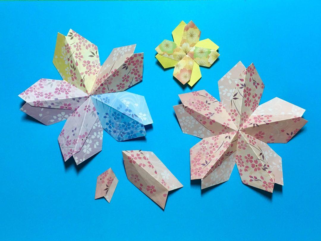 Oriya小町さんによる山折り桜の折り紙