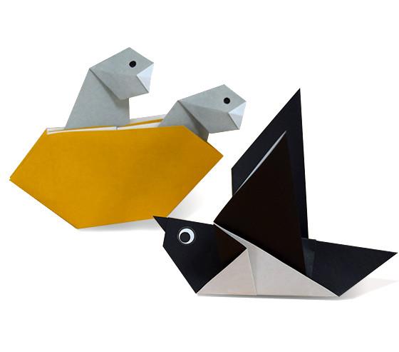 おりがみくらぶ(新宮文明)さんによるつばめのおやこの折り紙