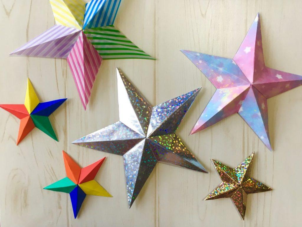 Oriya小町さんによるのりなしバーンスター(片面)の折り紙