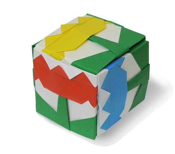 おりがみくらぶ(新宮文明)さんによるはなの立方体の折り紙