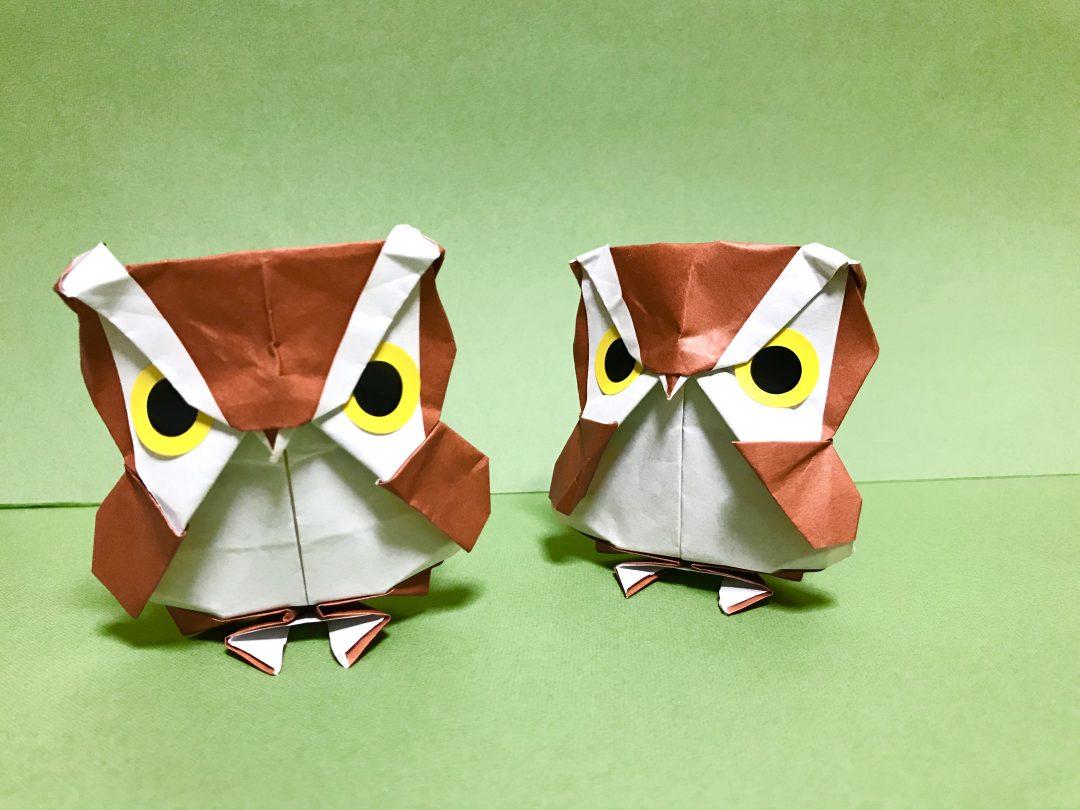 だ〜ちゃんさんによるぽってりフクロウの折り紙