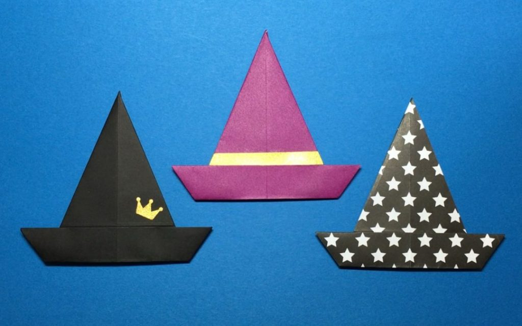 Oriya小町さんによる魔法使いの帽子の折り紙