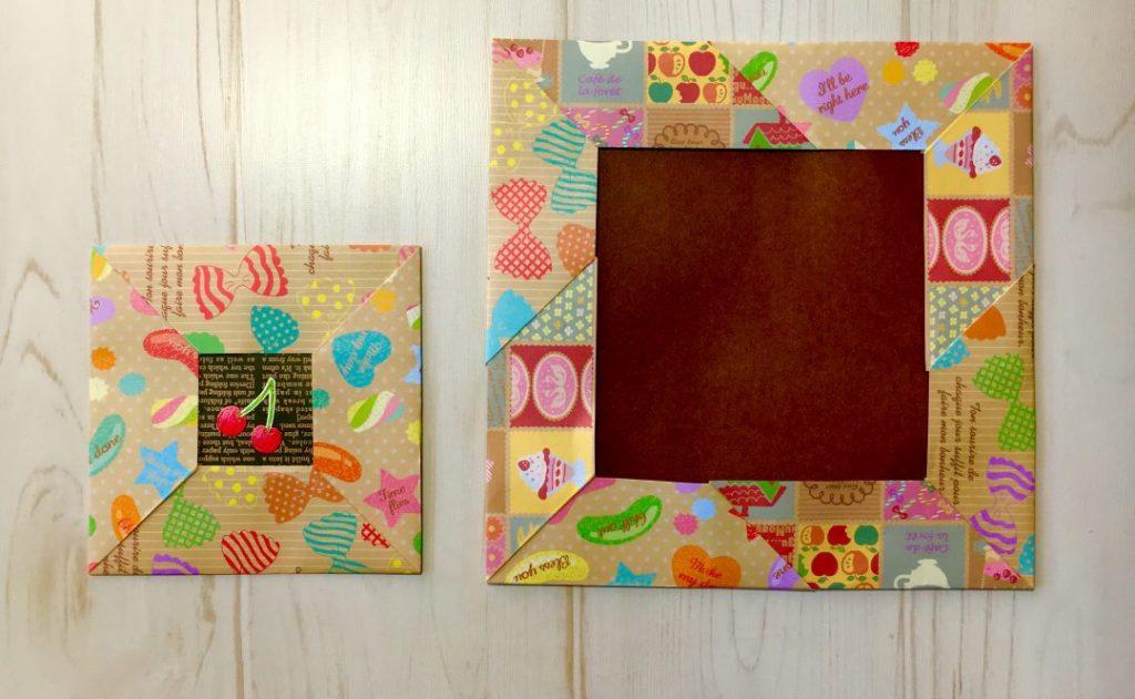 Oriya小町さんによるスクエアフレーム・パッチワークフレームの折り紙