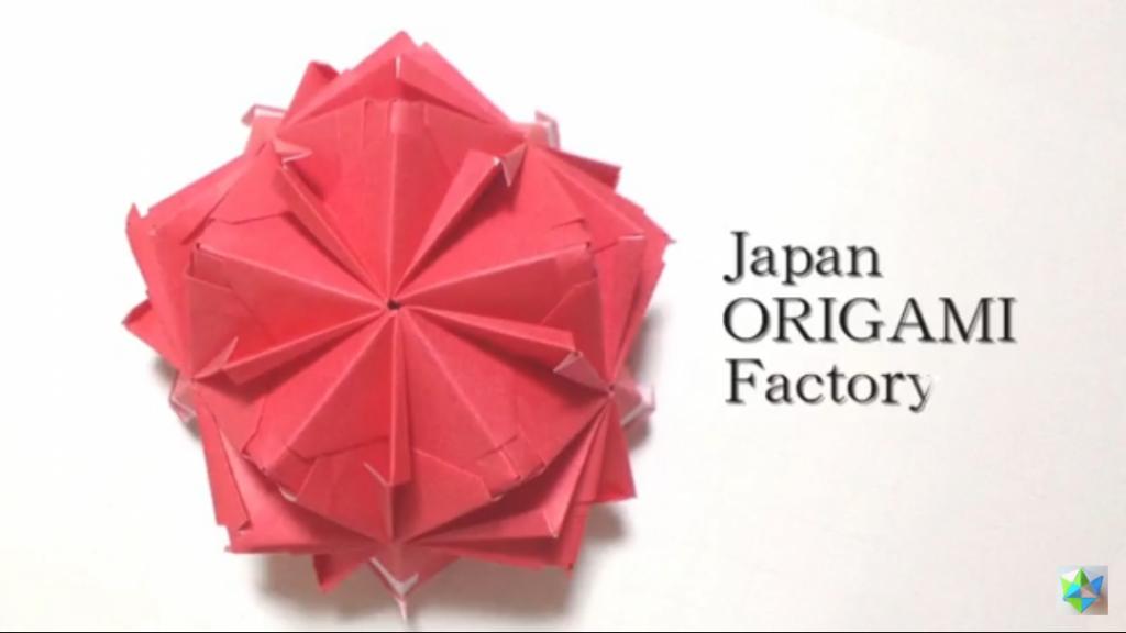 かみなが らんさんによるくす玉 真っ赤な林檎の折り紙