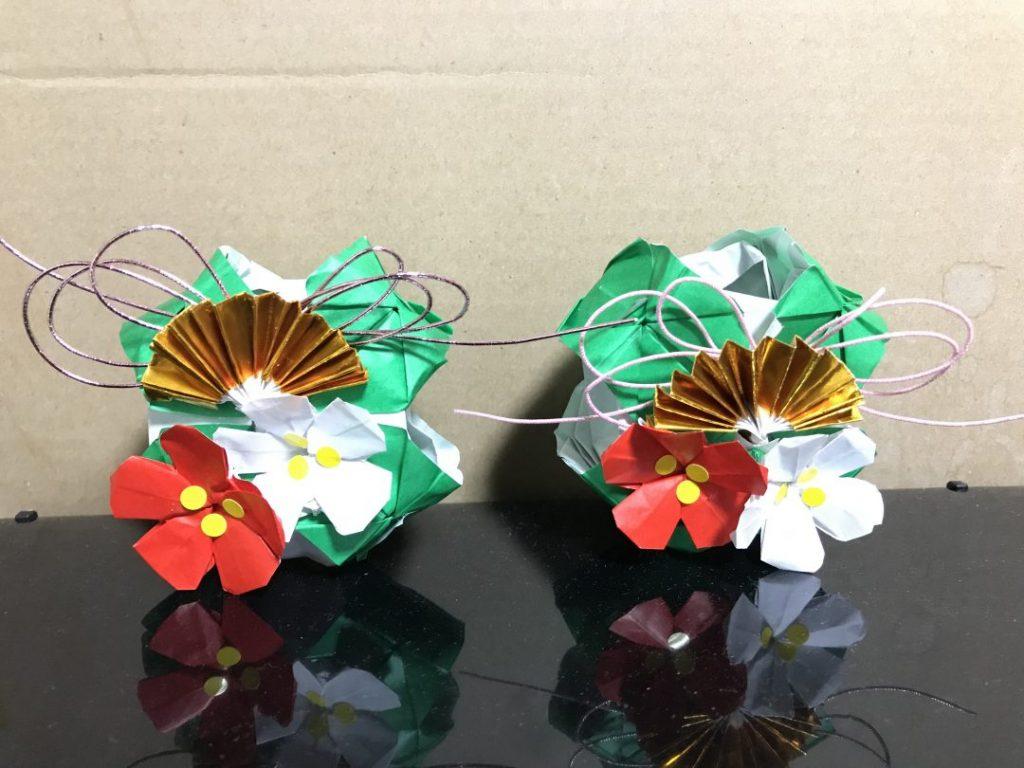 だ〜ちゃんさんによるクローバーキューブの正月飾りの折り紙