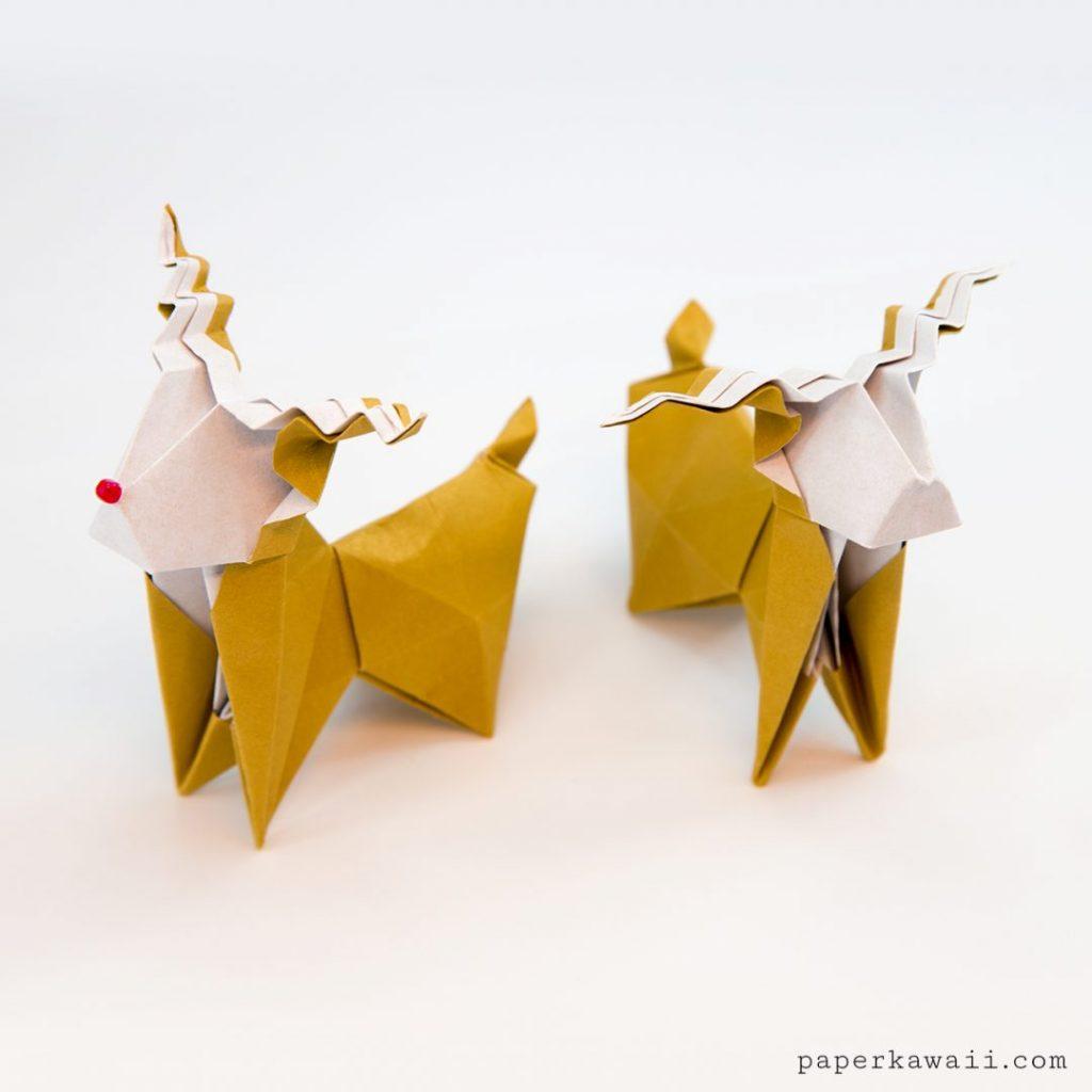 Paper Kawaii [かわいい折り紙]さんによるOrigami Reindeer 折り紙トナカイの折り紙