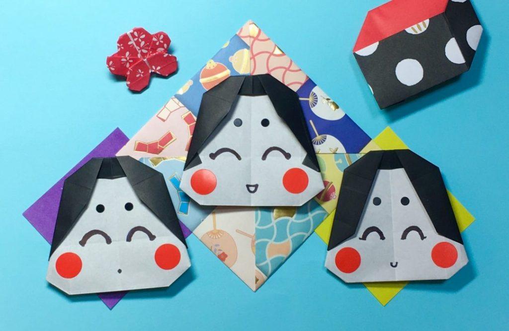 Oriya小町さんによるおたふく三姉妹の折り紙