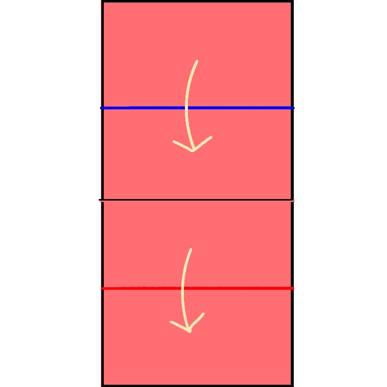 ②上は谷折り、下は山折りをします。