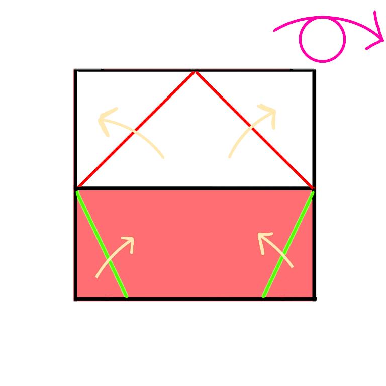 ③上は山折り、下はなかわり折りをします。