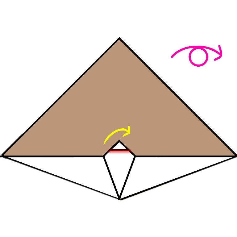 ④赤いせんを 中に折り込みます。  紙を うらがえします。