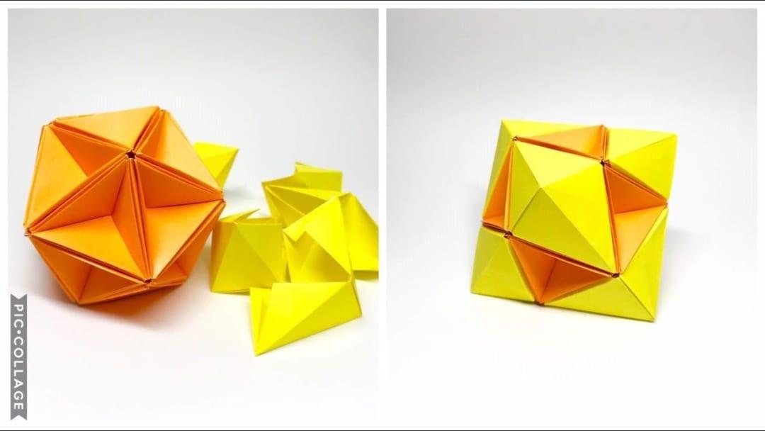 さくBさんによる変身ユニット折り紙、正二十面体⇔正八面体の折り紙