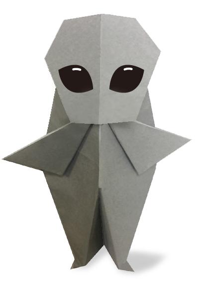 おりがみくらぶ(新宮文明)さんによるグレイ(宇宙人)の折り紙