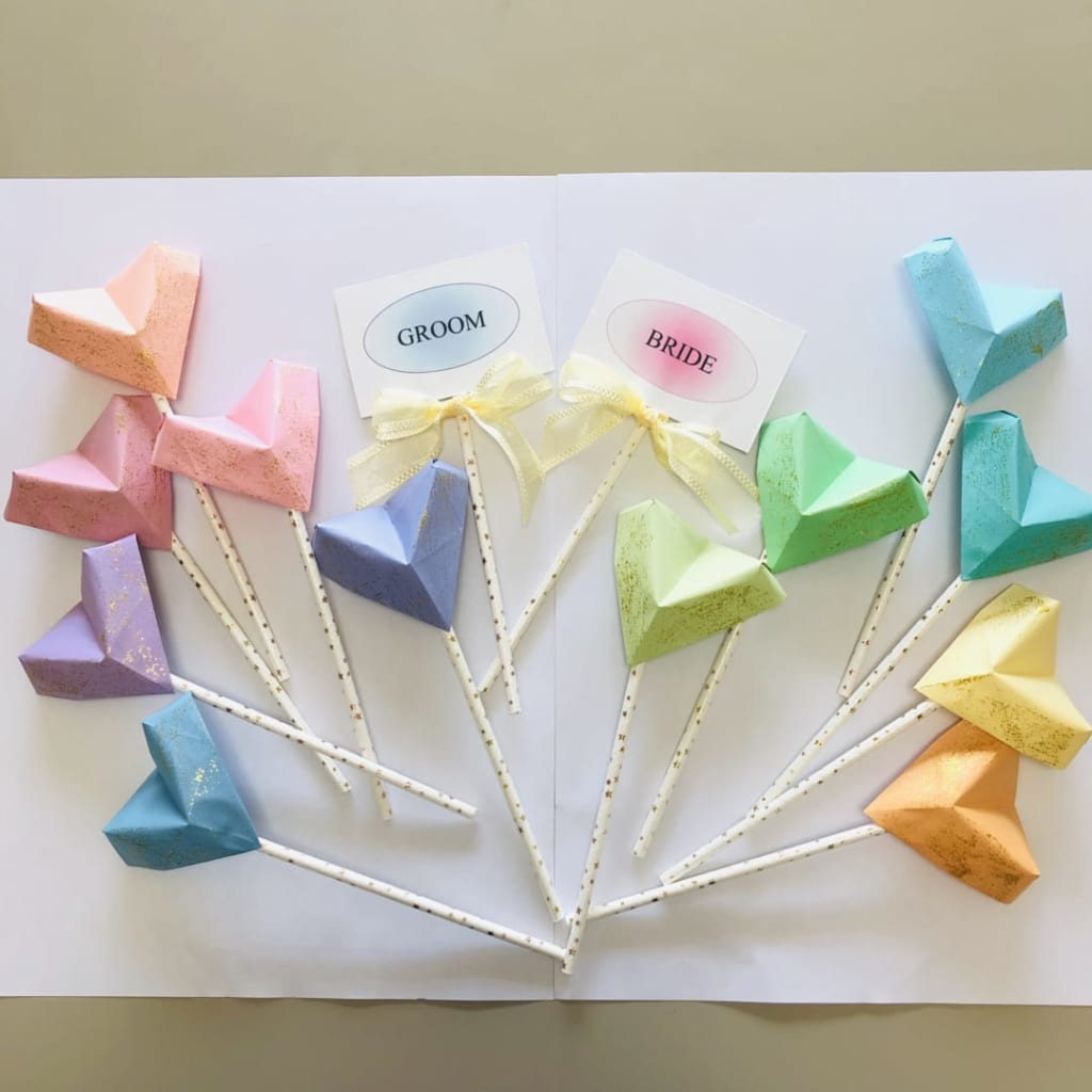 yuhpandaさんによるハートのフォトプロップスの折り紙