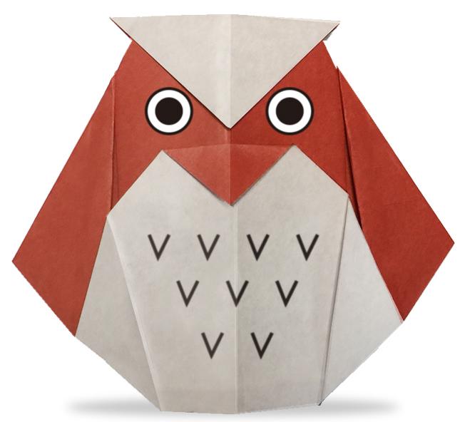 おりがみくらぶ(新宮文明)さんによるみみずくの折り紙